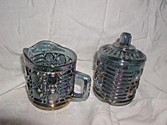 Blue Carnival Glass Sugar & Creamer