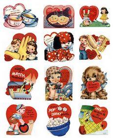 Vintage kids valentines cards at Vintage Holiday Crafts