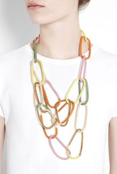 Neon doesn't have to mean stones? Loving this metal Painted Link Necklace by Lucy Folk