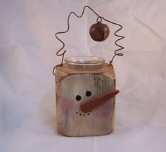 Wooden Block Primitive Snowman CandleHolder  Handcrafted
