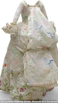 French 18th Century Dress à la Polonaise - love the papery looking fabric.