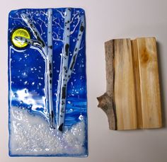 Winter Moon Beaming Down on Snowy Trees - Fused Glass -Aspen Tree Base