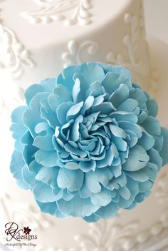 Couture Clay Tiffany Blue Frilly Peony Cake by dkdesignshawaii, $50.00