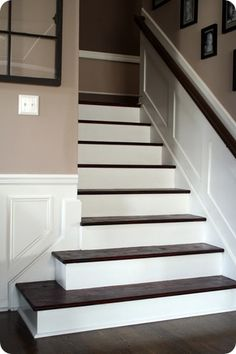 wainscoting to dress up boring drywall on the stairs