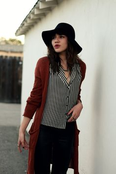 """Natalie of """"Natalie Off Duty"""" wearing UO's sun hat and cardigan #urbanoutfitters #cardigan #sunhat @Natalie Suarez"""