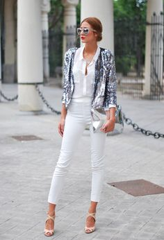 outfit, shoe, sequin jacket street style