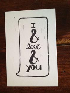inspiration: recreate similar on art canvas. avett brothers    I Love You. $5.00, via Etsy.