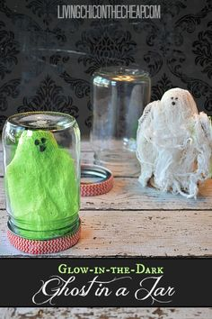 **Halloween Craft** DIY Glow-In-The-Dark Ghost In A Jar! These are fun and simple to make. My kids LOVED this craft. Perfect for a Halloween Party Craft too! #halloweencraft