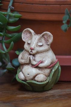 Mouse buddha art doll meditating in a leafy cup zen fantasy decor