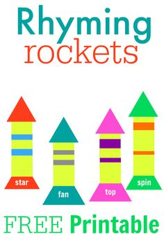 rhyming rockets free printable - could project it onto the white board for large group  Check out www.NYHomeschool.com as well.