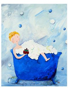 Boy in a Tub: Blonde Paper Print by Cici Art Factory at Gilt