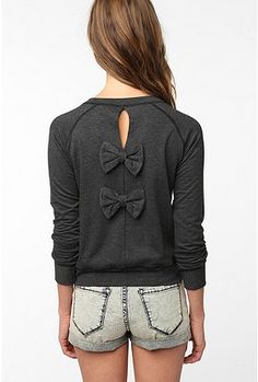 Grey top with bow embellishment.
