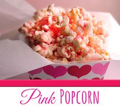 This Perfectly Pink Popcorn Recipe with White Chocolate is so easy to make! #valentinesday #recipe