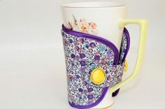 Violet/floral EcoFriendly Reusable Coffee Cozy by beautybuttons, $5.80
