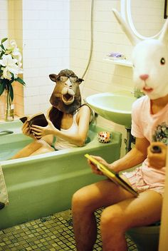 rabbit, baths, camel, animals, animal faces, miki chang, bathrooms, mask, bath time