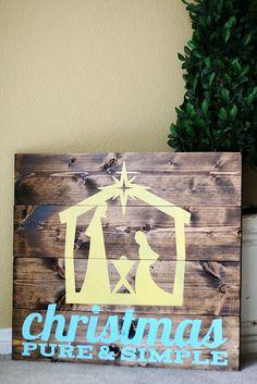 holiday, silhouett, craft, idea, christmas signs, pallet, nativity, simpl nativ, christmas gifts