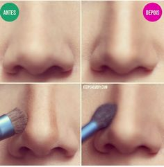 Nose contouring with an eyeshadow brush