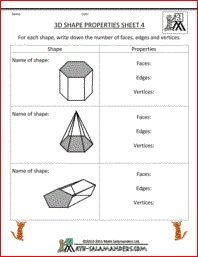3d Shape Properties Sheet 4, printable 3d shape worksheets