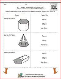 3d Shape Properties Sheet 4, printable 3d shape worksheets