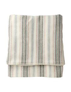 "Beautiful Welsh blanket from toast.co.uk,: ""Repro of a prettily striped, antique Welsh blanket, woven for us in one of the few surviving Welsh woollen mills. All British wool. Old-fashioned, soft, robust. Blanket stitched ends.""  £95"