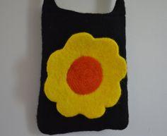 Purse Felted Wool Black Yellow Orange Flower by TwiceNicePurses, $30.00