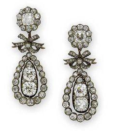 Diamond pendeloque earrings, circa 1810