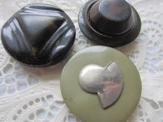 Vintage Buttons 3 1940's light weight celluloid by pillowtalkswf