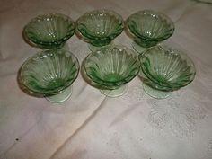 Vintage Depression Green Open Salt Cellar Stemmed 6 Items Perfect Shape | eBay