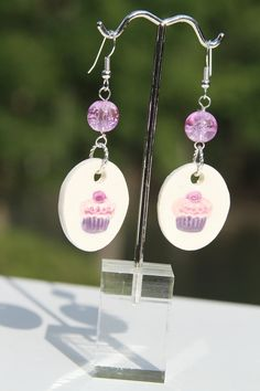 Ceramic Jewelry  Cupcake earrings by kimjustice on Etsy, $15.00