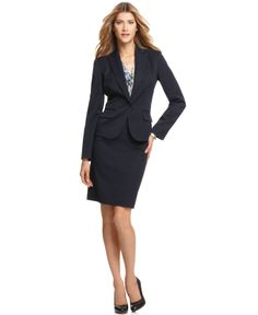 Anne Klein One-Button Blazer & Classic Pencil Skirt - Suits & Suit Separates - Women - Macy's