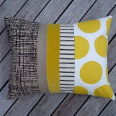 Gerty Brown for collected Yellow/Black cushion // Collected by Lee Ann Yare