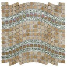 Merola Tile Tessera Wave Venus 12-1/4 in. x 11-3/4 in. Glass/Stone Mosaic Wall Tile