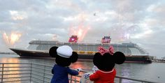 Mickey and Minnie looking out at the ship : )
