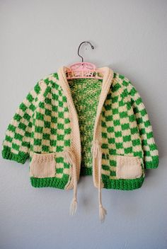 sweet! vintage green checkerboard sweater from 3ringcircus
