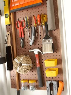 A pegboard is a simple way to keep tools organized. More garage organization: http://www.bhg.com/home-improvement/garage/storage/ideas-for-garage-organization/?socsrc=bhgpin062813pegboard=4