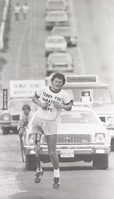 Thanks to him the world has raised over $600M for cancer research. Terry Fox. He was 22.
