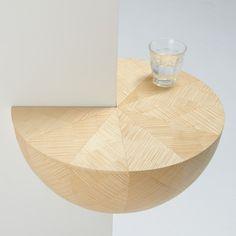 Turned wood corner shelf