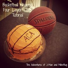 Easy and Fun Basketball Shaped Four Layer Cake Tutorial via http://www.jmanandmillerbug.com