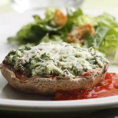 Cheese & Spinach Stuffed Portobellos