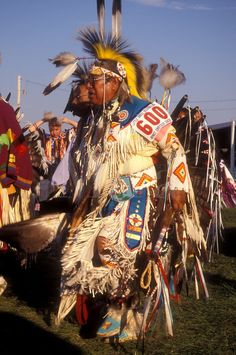 North Dakota, Pow Wow, Native American man dancing at a tribal dance contest in native costume at Little Shell Pow Wow on Fort Berthold Indian Reservation in New Town.