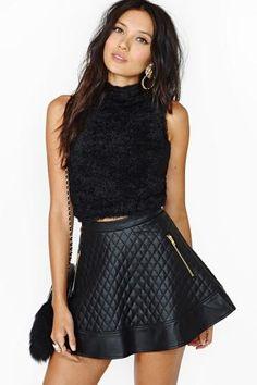leather skater skirt <3