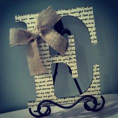 first dance song on your initial with a sweet bow. dancing songs, lyric, wedding songs, craft letters, gift ideas, bible verses, burlap bows, first dance songs, wedding gifts