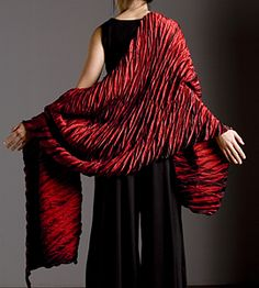 Red shawl with black dress