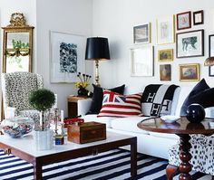 Tommy Smythe's playful and preppy living room.  {Photo: Michael Graydon for Candian House and Home November 2009} herm, pillow, living rooms, red white blue, make a room, hous, live room, decorating tips, budget decorating