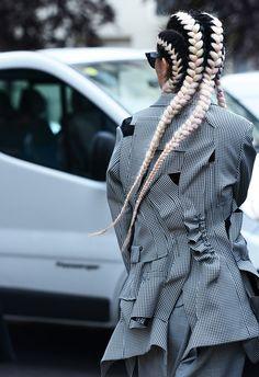 Now that is what I call a plait!!  #colour #plait #hair #fashion  Image: Tommy Ton for Style.com