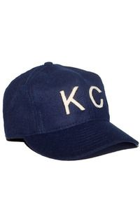 The KC, Wool Hat, Baldwin Denim. Navy Wool Broadcloth, Chambray Lining, Sating Taping, Hand Cut Felt Letters.