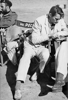 """Gregory Peck playing chess on the set of """"The Guns of Navarone""""  (1961)"""