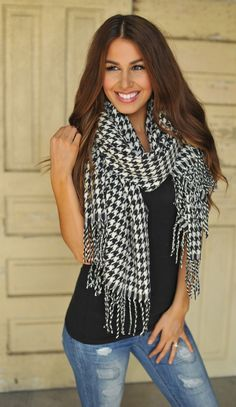 Dottie Couture Boutique - Oversized Houndstooth Scarf , $28.00 (http://www.dottiecouture.com/oversized-houndstooth-scarf/)