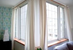 Faux french windows. DIY. paint on the window to make it look like panes.