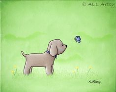 Puppy and Purple Butterfly 8x10 Children's Room Matted by ALLArtsy, $26.00